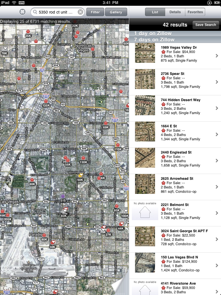 screen shot of Zillow (2010-09-03) on the Apple iPad showing Las Vegas foreclosures